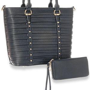 Handbags -  Belted Design Tote Handbag Set